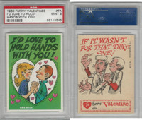 1960 Topps, Funny Valentines, #7A I'd Love to Hold Hands With You!, PSA 9 Mint