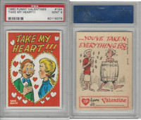1960 Topps, Funny Valentines, #19A Take My Heart!!!, PSA 9 Mint
