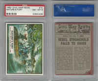 1962 Topps, Civil War News, #15 Nature's Fury, Mississippi River,PSA 8 NMMT