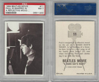 1964 Topps, Beatles Movie, #11 Paul Is Snapped in A Reflective Mood, PSA 7 NM