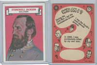 1967 Topps, Who Am I? (Uncoated), #18 Stonewall Jackson, Civil War
