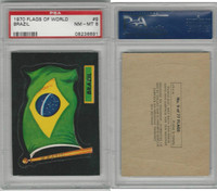 1970 Topps, Flags of the World Stickers, #9 Brazil, PSA 8 NMMT