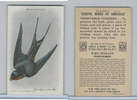 J9-6, Church & Dwight, Useful Birds America 10th Ser., 1925, #11 Barn Swallow