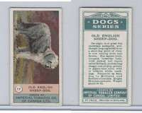 C7 Imperial Tobacco Company, Dog Series, 1920's, #17 Old English Sheepdog