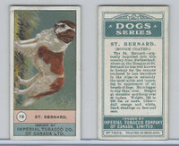 C7 Imperial Tobacco Company, Dog Series, 1920's, #19 St. Bernard