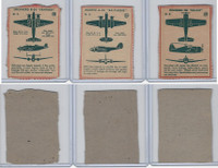 F273-79 Kellogg, Plane Spotter Cards, 1940's, Lot of 3, #25, 26, 39 Airplanes