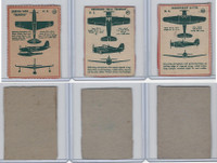F273-79 Kellogg, Plane Spotter Cards, 1940's, Lot of 3, #40, 41, 42 Airplanes