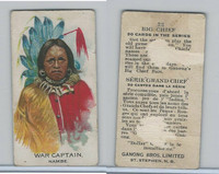 V118 Ganong Bros., Big Chiefs, Indians, 1939, #22 War Captain, Nambe