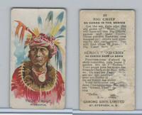 V118 Ganong Bros., Big Chiefs, Indians, 1939, #50 True Eagle, Missouria