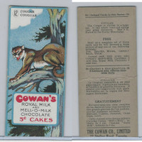 V2 Cowan, Animal Cards, 1920's, #12 Cougar, Royal Milk Chocolate