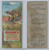 V2 Cowan, Animal Cards, 1920's, #13 Badger, Royal Milk Chocolate