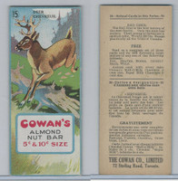 V2 Cowan, Animal Cards, 1920's, #15 Deer, Almond Nut Bar