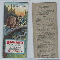 V2 Cowan, Animal Cards, 1920's, #16 Lynx, Royal Milk Chocolate