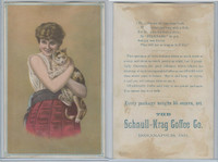 K Card, Schnull Krag Coffee, 1890's, Girl With Cat