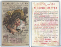 K Card, Standard Java, 1890's, Girl With Cat and Newspaper