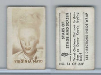 1949 Topps, Magic Photos, Stars of Stage & Screen, F #14 Virginia Mayo