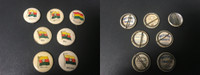P6 American Tobacco Pins, National Flag, 1898, Bolivia, 7 Different