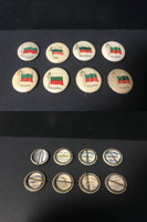 P6 American Tobacco Pins, National Flag, 1898, Bulgaria, 8 Different