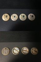 P6 American Tobacco Pins, National Flag, 1898, Burmah, 4 Different
