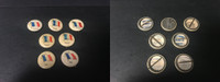P6 American Tobacco Pins, National Flag, 1898, France, 7 Different