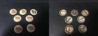 P6 American Tobacco Pins, National Flag, 1898, Guatemala, 7 Different