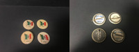 P6 American Tobacco Pins, National Flag, 1898, Italy, 4 Different