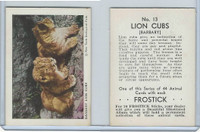 F55 Frostick, Animal Cards, 1933, #13 Barbary Lion Cubs