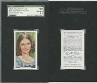 G12-90 Gallaher, My Favorite Part, 1939, #44 Elizabeth Allan, SGC 92 NMMT+