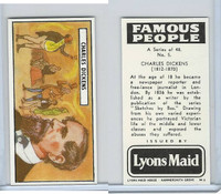 L0-0 Lyons Maid, Famous People, 1966, #5 Charles Dickens