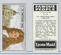 L0-0 Lyons Maid, Famous People, 1966, #18 Sir Christopher Wren