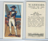 B0-0 Barratt, Warriors Through Ages, 1962, #2 British Naval Officer
