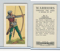 B0-0 Barratt, Warriors Through Ages, 1962, #21 English Longbowman