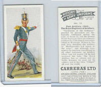 C18-55 Carreras, History Army Uniforms, 1937, #13 Foot Artillery (1846)