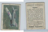 T87 Wings Cigarettes, Series (No Letter Series), 1941,#15 Fighter