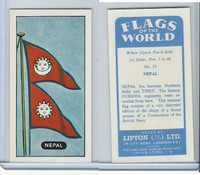 L0-0 Lipton Tea, Flags of the World, 1966, #15 Nepal
