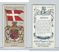 P72-29 Player, Countries Arms & Flags, 1912, #13 Denmark