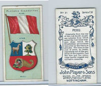 P72-29 Player, Countries Arms & Flags, 1912, #31 Peru