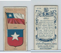 P72-29 Player, Countries Arms & Flags, 1912, #34 Chili