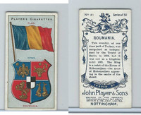 P72-29 Player, Countries Arms & Flags, 1912, #41 Roumania