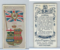 P72-29 Player, Countries Arms & Flags, 1912, #48 Canada