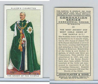 P72-157 Player, Coronation, 1937, #22 Most Noble Order of the Thistle