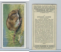 P72-153 Player, Animals of Countryside, 1939, #2 Common Shrew