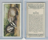P72-153 Player, Animals of Countryside, 1939, #12 Badgers