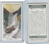C82-92 Churchman, Won. Rail Travel, 1937, #48 Pikes Peak Rail, Colorado, USA