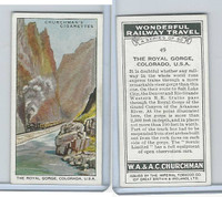 C82-92 Churchman, Won. Rail Travel, 1937, #49 The Royal Gorge, Colorado, U.S.A.