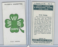 P72-63a Player, Army, C, D Signs, 1924, #16 21st Corps