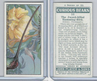 P72-85 Player, Curious Beaks, 1929, #26 Sword-billed Humming-Bird