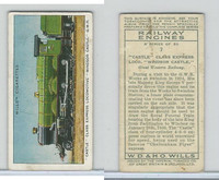 W62-198 Wills, Railway Engines, 1936, #7 Castle Class Express Loco.