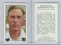 G12-99 Gallaher, Sporting Personalities, 1936, #13 F.E. Woolley, Cricket