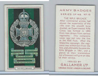 G12-72 Gallaher, Army Badges, 1939, #15 Rifle Brigade